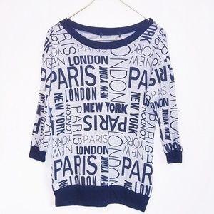 Sweaters - Paris London New York City Crewneck Shirt Small